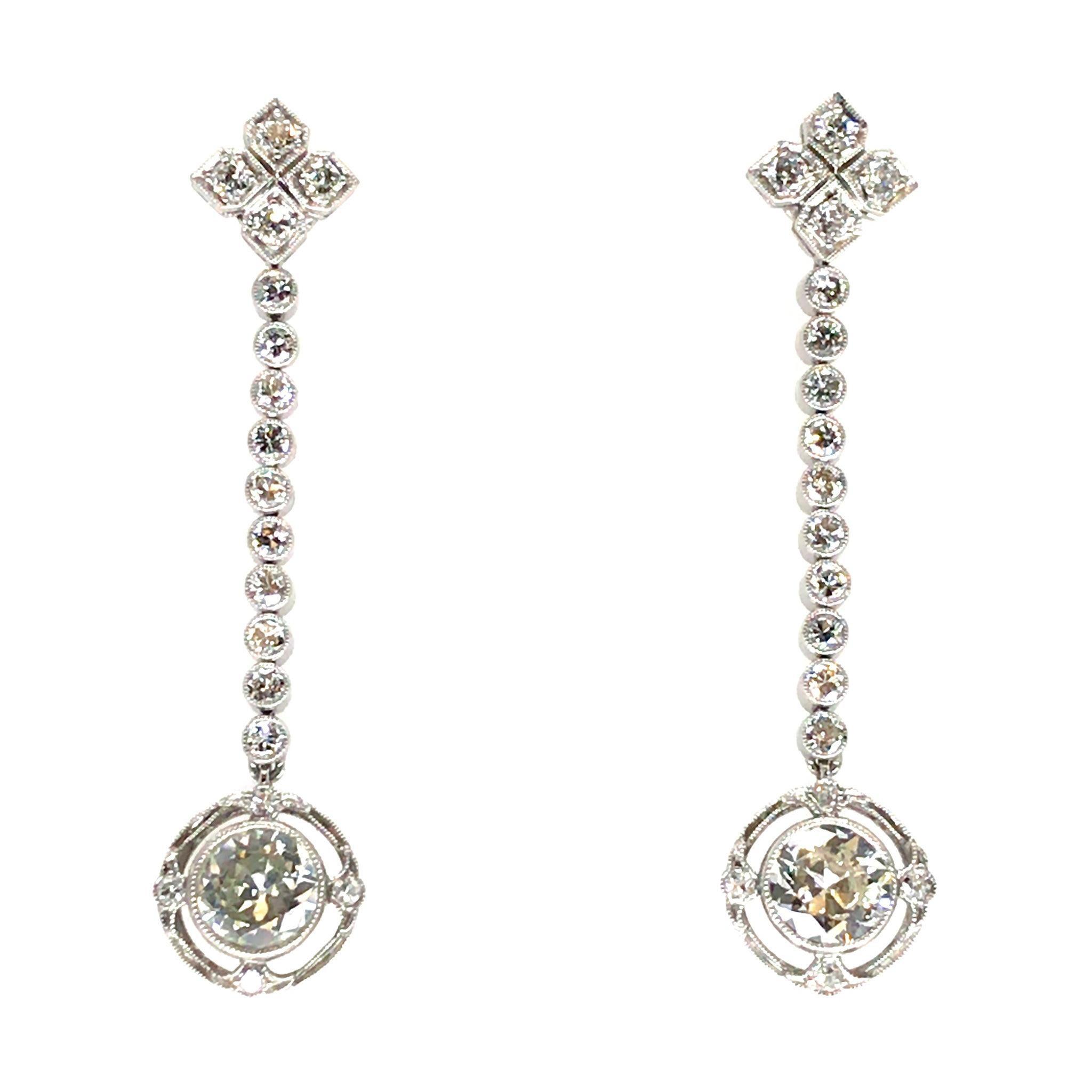 Platinum Art Deco Drop Diamond Earrings