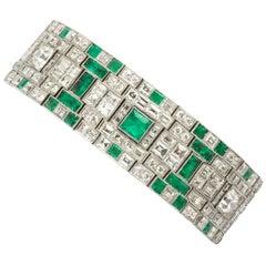 Platinum Art Deco Emerald and Diamond Bracelet