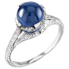 Platinum Art Deco Estate Cabochon Sapphire and Diamond Cocktail Ring