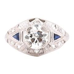 Platinum Art Deco Style Euro Cut Diamond and Sapphire Engagement Ring