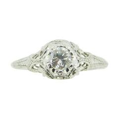 Platinum Art Deco Filigree .37ct Genuine Natural Diamond Ring '#J4249'