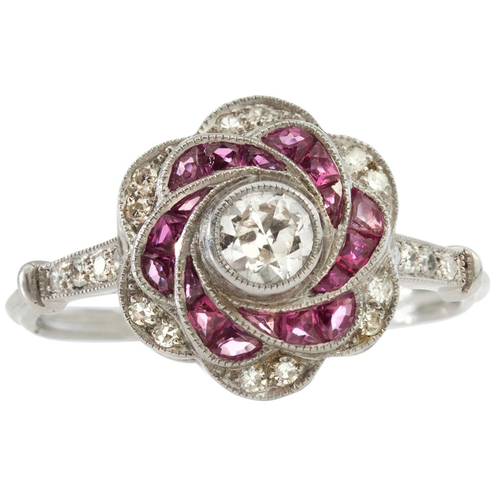 Platinum Art Deco Inspired Diamond and Ruby Ring