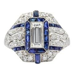 Platinum Art Deco Inspired Diamonds and Sapphires Ring