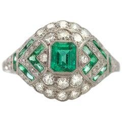 Platinum Art Deco Inspired Emerald and Diamond Ring