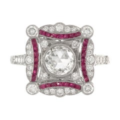 Platinum Art Deco Inspired Ruby and Diamond Ring