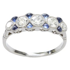 Platinum Art Deco Ladies Ring with Diamonds and Sapphires