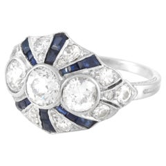 Platinum Art Deco Old European Cut Diamond and Synthetic Sapphire Ring