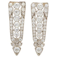 Platinum Art Deco Style Old European Diamond Sphere Earrings