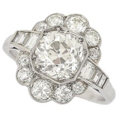 2.55 Carat Old Mine Cut Platinum Diamond Cluster Art Deco Engagement Ring c.1920