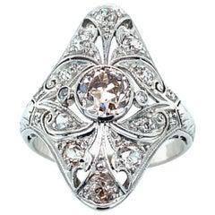 Platinum Art Deco Pink-Brown Diamond Ring