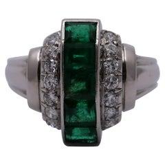 Platinum Art Deco Platinum Diamond and Emerald Ring