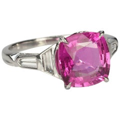 Platinum Art Deco Ring with Pink Sapphire