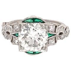 Platinum Art Deco Round Diamond Engagement Ring