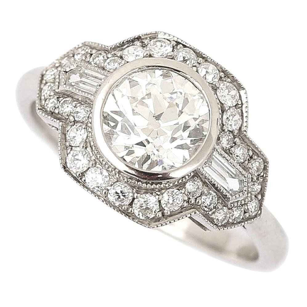 Platinum Round Old Mine Cut Diamond 1.19 Carat Cluster Engagement Ring