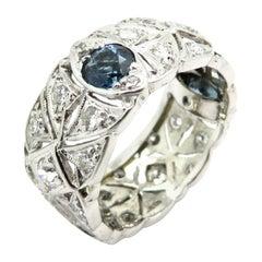 Platinum Art Deco Style 1.51 Carat Round Sapphire and Diamond Eternity Band Ring