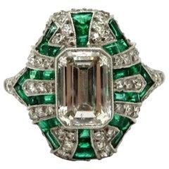 Platinum Art Deco Style 1.57 Carat Emerald Cut Diamond and Emerald Ring