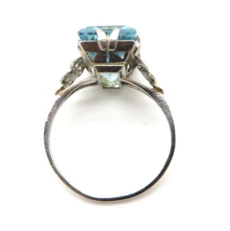 Women's Platinum Art Deco Style 5.00 Carat Aquamarine and Diamond Ring For Sale