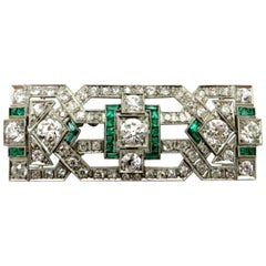 Platinum Art Deco Style Antique 5.00 Carat Emerald and Diamond Pin or Brooch