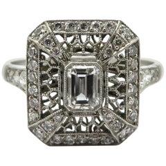 Platinum Art Deco Style Antique Emerald Cut Diamond Engagement Ring
