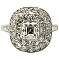 Platinum Art Deco Style Asscher and Old European Cut Diamond Engagement Ring