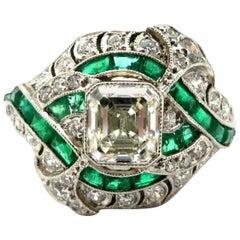 Platinum Art Deco Style Asscher Cut Diamond and Emerald Engagement Ring
