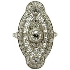 Platinum Art Deco Style Greek Key Diamond Shield Engagement Ring