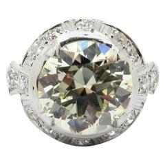 Platinum Art Deco Style Old European Cut 3.25 Carat Diamond Halo Engagement Ring