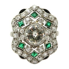Platinum Art Deco Style Old European Cut Diamond and Emerald Engagement Ring