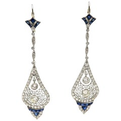 Platinum Art Deco Style Old European Cut Diamond and Sapphire Dangle Earrings