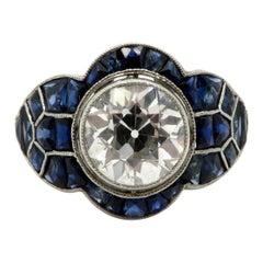 Platinum Art Deco Style Old European Cut Diamond and Sapphire Engagement Ring