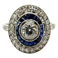 Platinum Art Deco Style Old European Cut Diamond & Sapphire Halo Engagement Ring