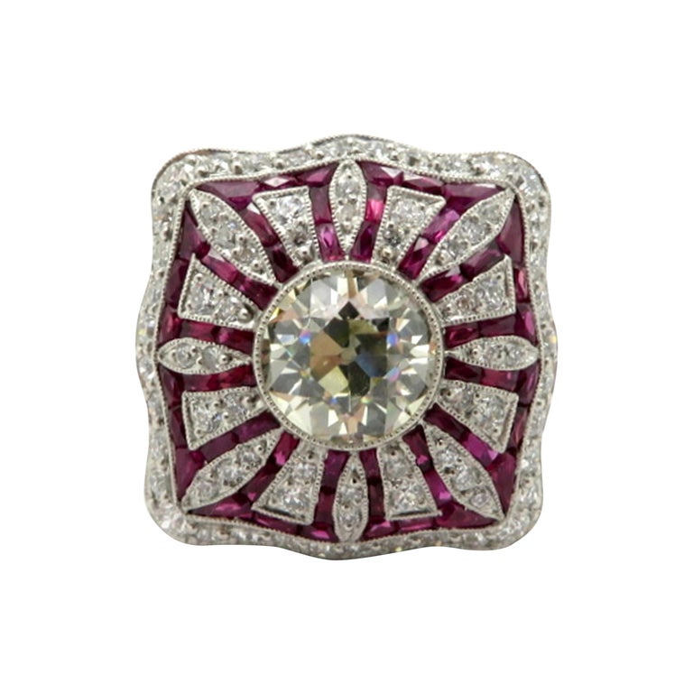 Ruby Engagement Rings For Sale: Platinum Art Deco Style Ruby And Old European Cut Diamond