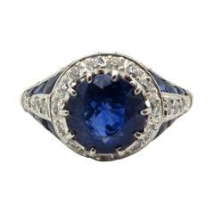Platinum Art Deco Style Sapphire and Diamond Ring