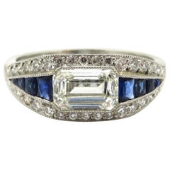 Platinum Art Deco Style Sapphire and Emerald Cut Diamond Engagement Ring