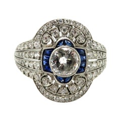 Platinum Art Deco Style Sapphire and Old European Cut Diamond Engagement Ring