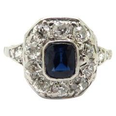 Platinum Art Deco Style Sapphire and Round Diamond Ring