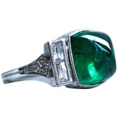Platinum Art Deco Style Sugarloaf Emerald and Diamond Ring Engagement Ring
