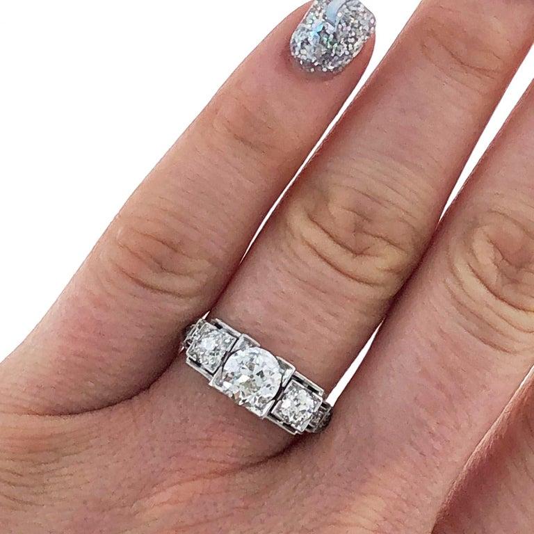 Old European Cut Platinum Art Deco Three-Stone Diamond Ring For Sale