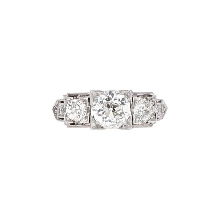 Platinum Art Deco Three-Stone Diamond Ring For Sale