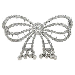 Platinum Artdeco Bowknot Diamond Brooch with Dangling Diamonds