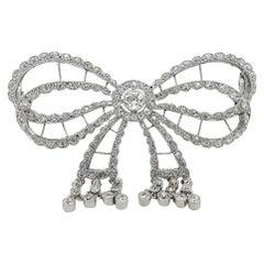 Platinum Artdeco Bowknot Diamond Brooch with Dangling Diamonds