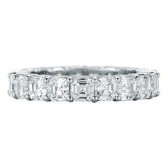 Platinum Asscher Cut Diamond Eternity Band 5.70 Carat