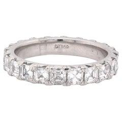 Platinum Asscher Cut Diamond Eternity Band