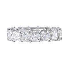 Platinum Asscher Cut Diamond Eternity Wedding Band Ring 8.13cttw