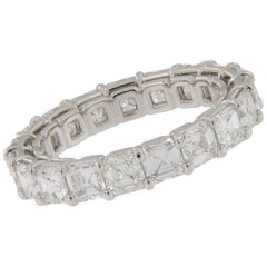 Platinum Asscher Cut E-F VVS Diamond Eternity Band