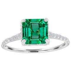 Platinum Asscher Green Emerald Diamond Ring 'center-1.79 Carat'