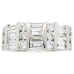 Platinum Baguette and Round Diamond Band Ring