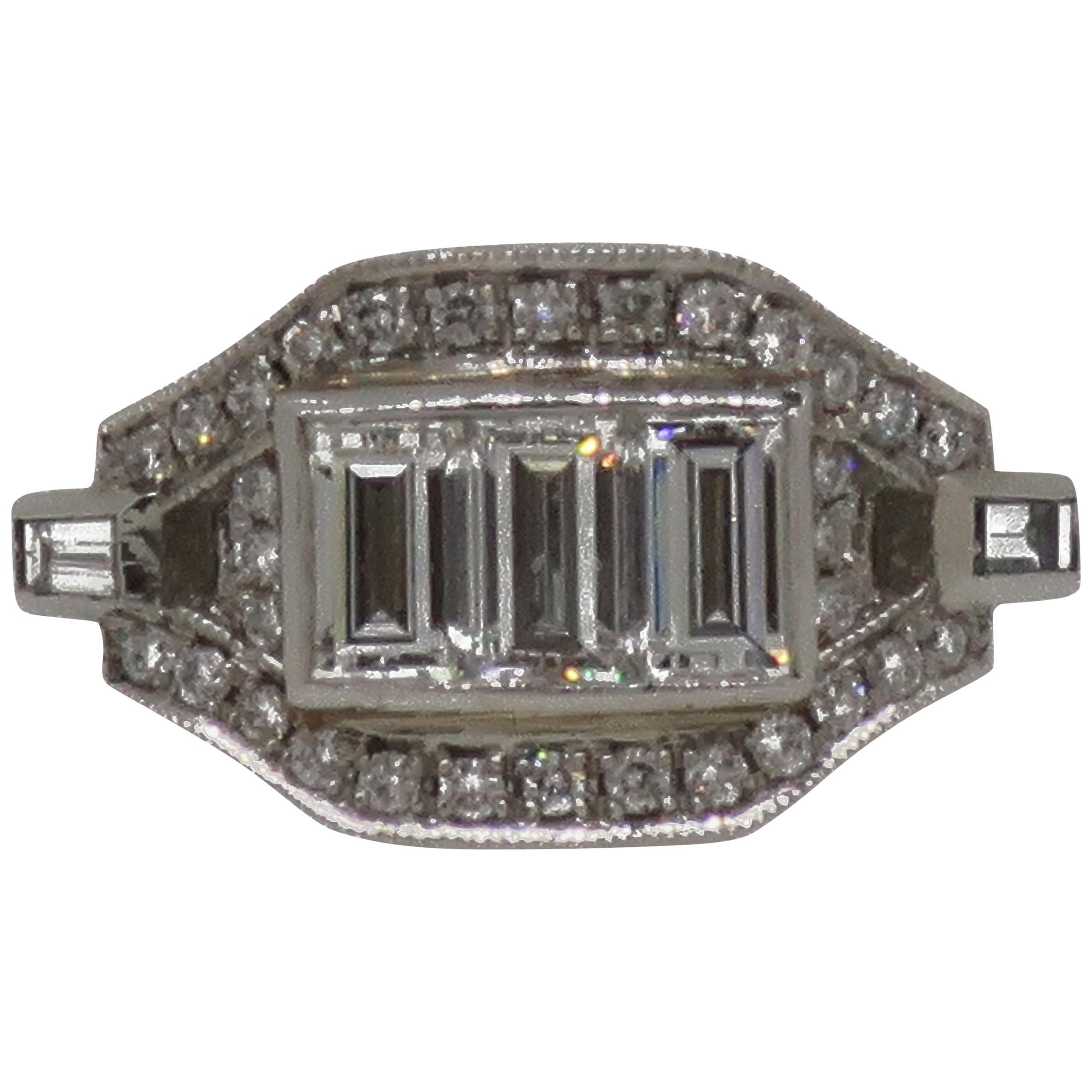 Platinum Baguette Cut Diamond Art Deco Style Cluster Ring