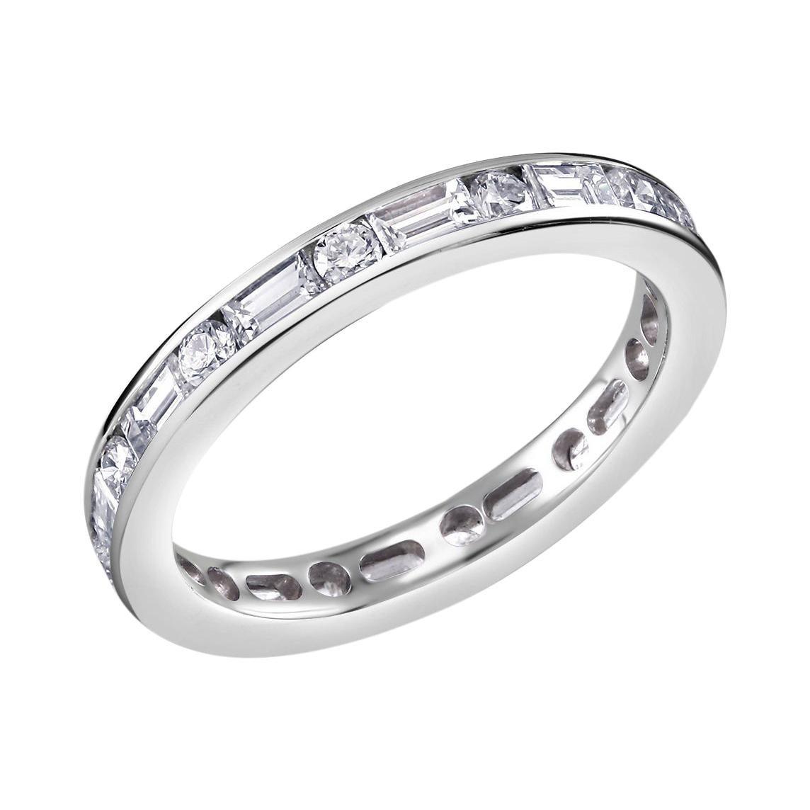 Platinum Baguette Diamond Alternating Round Diamond Eternity Band