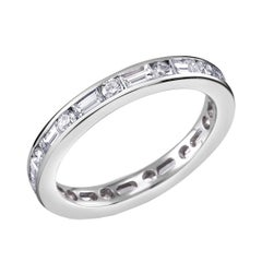 Platinum Baguette Diamond Alternating Round Diamond Eternity Band